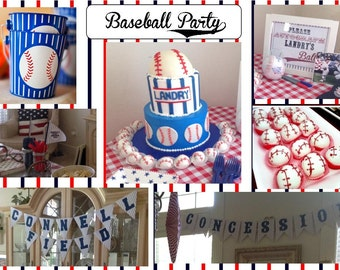 Printable baseball party supplies NO INVITE  UPrint customized card by greenmelonstudios