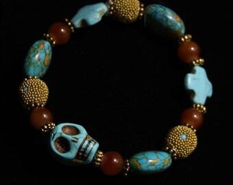 Turquoise Skulls and Crosses Halloween Bracelete