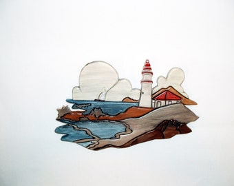 Lighthouse Nautical, Wood Wall Art, Wood Sculpture, Intarsia Wood Art, Wall Hanging Wood Art