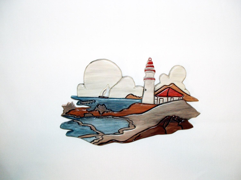 Lighthouse Nautical Wood Wall Art Wood By Galleryatkingston