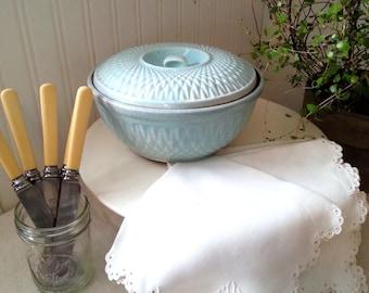 Vintage Ironstone stoneware Blue Bowl stoneware casserole bowl robin blue egg covered bowl