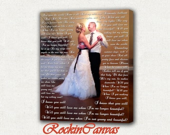 Personalized Wedding Canvas Print/ Gallery Wrapped/ Wedding Songs/Vows/ Lyrics/ Quotes/Perfect Custom Wall Decor.