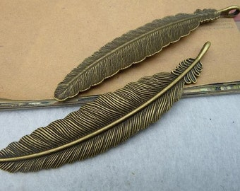 8pcs 20x105mm Antique bronze big feather charm pendant connector Jewelry findings wholesale  bC2713