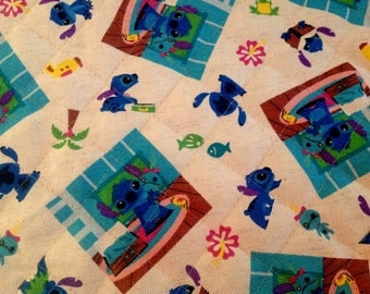 """Lilo Stitch Quilted Fabric Cotton Linen - one piece 43"""" x 16"""" inches"""