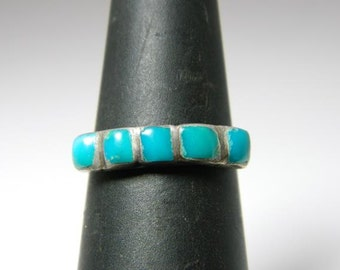 Vintage Native American Sterling Silver Deep Blue Turquoise Inlay  (Sz 7) Ring NA516