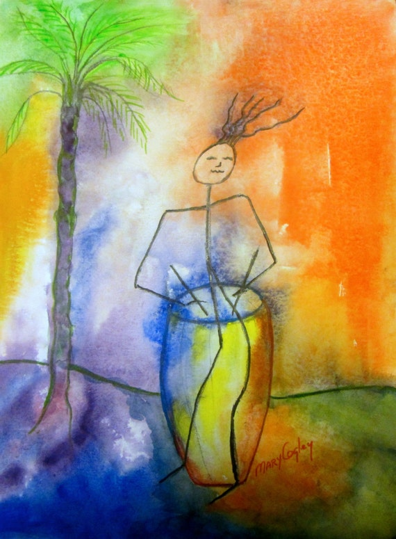 Drummer's Dream - Watercolor Painting PRINT - by Mary Cogley - 2014