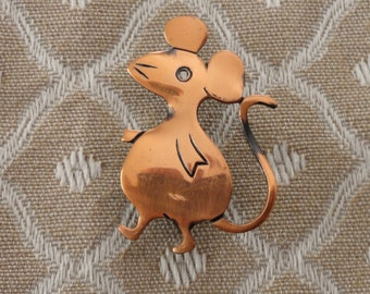 Vintage Copper Mouse Brooch Pin…Copper Brooch…Mouse Brooch Pin…Mouse Brooch...Copper Jewelry