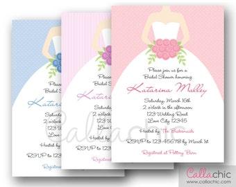 Wedding Gown Bridal Shower Invitation PRINTABLE - Pink Purple/Lavender Blue