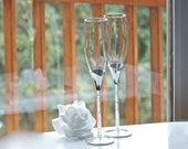 Toasting Glasses, Tube Stem With Crystal Stones Flutes