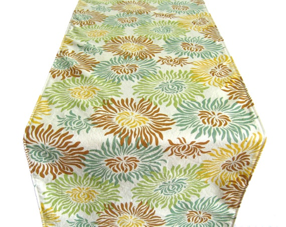3 ft table runner 12 x 36 green teal beige by clearskyhome for 12 ft table runner