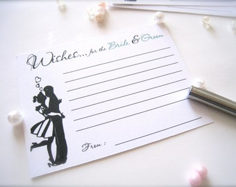Wishes for the bride and groom cards, advice cards, best wishes wedding cards, guest book cards - 30 count