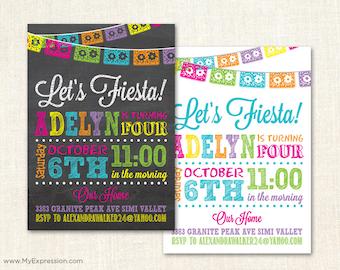 Fiesta Girl Birthday Invitations - Chalkboard Mexican Fiesta Birthday Party - Poster Style Kids Invitations - Digital or Printed