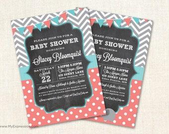 Chevrons & Polka Dots Chalkboard Baby Shower Invitations - Coral and Teal Baby Shower Invitations - Printed or Digital