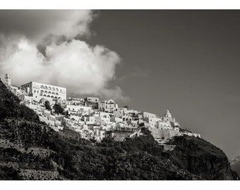Cliff-Top Village #2, Santorini: A Black and White Photograph 11x15