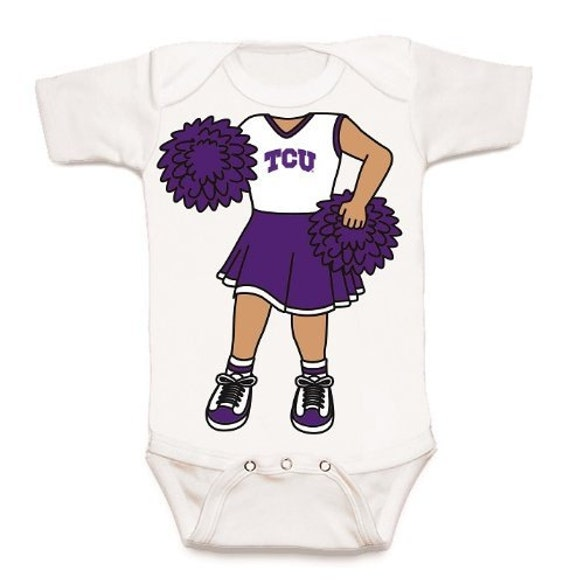 Texas Christian TCU Heads Up Cheerleader Baby Bodysuit