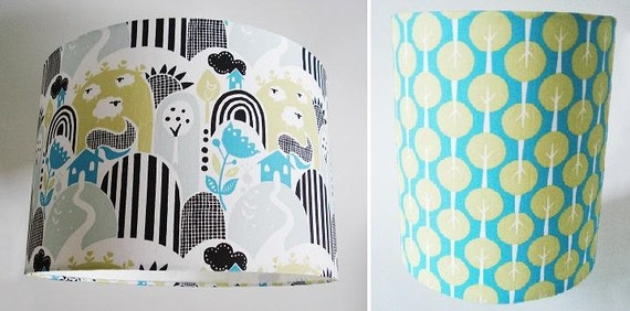 Organic cotton hill & dale farm or lollipop trees design fabric lampshade for bedside and ceiling lights