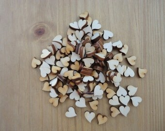 Wooden Hearts pack of 50 TEAR DROP, 1 cm hearts, wedding hearts, scrap book, embellishment, art and craft. Card making, Christmas Hearts
