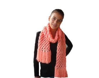 Soft, Hot, Long and impressive hand knitted woman's Winter scarf from Acrylic yarn with tassels fringle. Free shipping worldwide