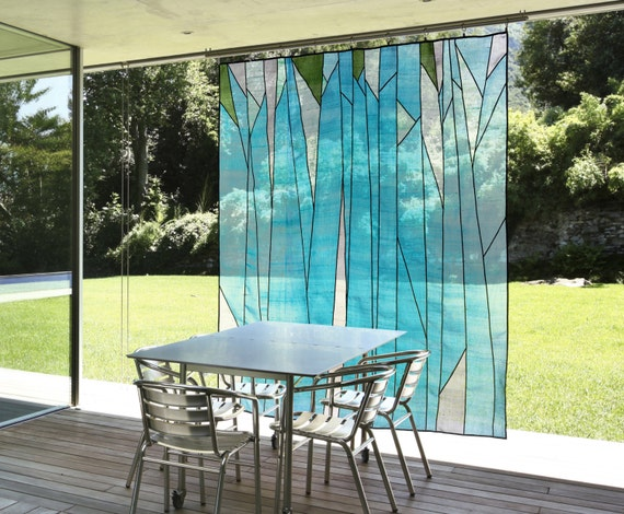 Abstract forest design sheer window shade covering for Outdoor wall coverings garden