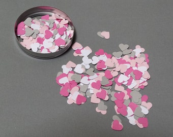 400 hand punched hearts confetti- pink, white, hot pink, gray