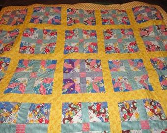 Vintage handstitched patchwork quilt.