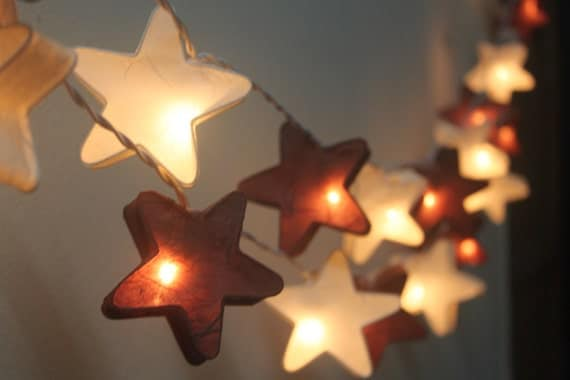 Led String Lights For Paper Lanterns : 20 LED Stars Paper Lantern String Lights for Home