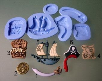 Silicone molds to choose from, pirate theme