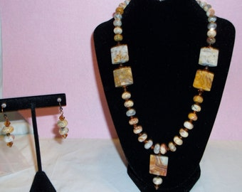 Crazy Lace Agate Jewelry Set in Earth Tones