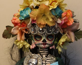 Gothic Day of the Dead Skeleton Doll Holding Silver Mary Canon PRINT 549 Reproduction by Michael Brown