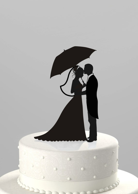 Wedding Cake Topper Silhouette Groom With Bride Holding