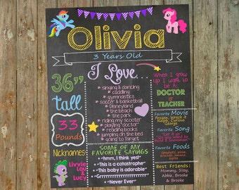 My Little Pony Birthday Chalkboard / My Little Pony Birthday / My Little Pony Party / My Little Pony printable / Birthday Chalkboard