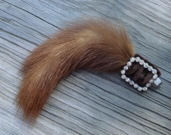 Antique Victorian Jewelry Natural Hair Fur Rhinestones 01175
