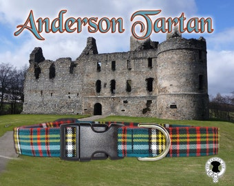 Anderson Tartan Dog Collar,,authentic tartan of the Scottish Clan Anderson
