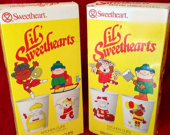 Lil Sweetheart Kitchen Cups 5oz disposable vintage 1985