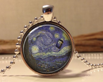 Doctor Who Necklace. Tardis Van Gogh Dr who art pendant jewelry.(Dr who #10)