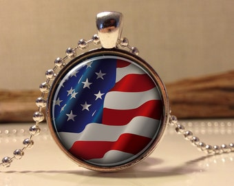 American Flag Necklace, Patriotic American Flag Necklace, American Flag Pendant, Independence Day Jewelry, 4th of July Necklace (flag#3)
