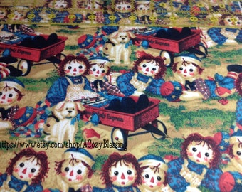 Licensed Daisy Kingdom Raggedy Ann & Andy Applique Flannel Fabric  Sold BTFQ RARE Hard to Find Out of Production Vintage Nostalgic