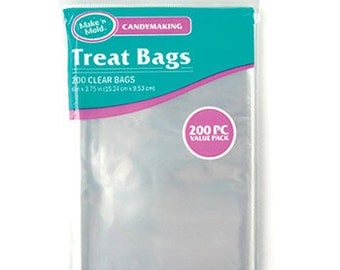 """VALUE 200 Pc - Small 6"""" Clear Candy Treat Bags VALUE PACK 200 Pieces per Package"""