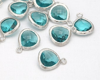Blue Zircon Glass Pendant(Small) Polished Rhodium -Plated - 2 Pieces <G0008-PRBZ>