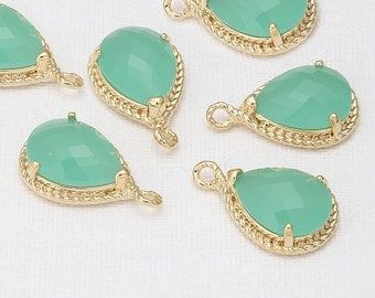 Mint Glass Teardrop Pendant Polished Gold-Plated - 2 Pieces [SS0009-PGMT]