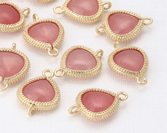 Pink Glass Triangle Connector, Pendant  Matte Gold -Plated - 2 Pieces [SS0011-MGPK]