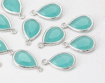 Mint Glass Pendant Polished Rhodium -Plated - 2 Pieces [G0065-PRMT]