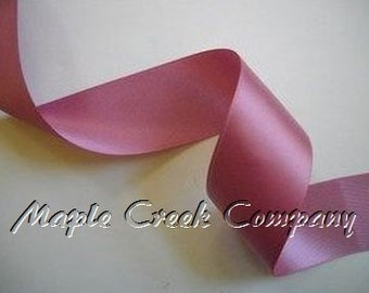 "Rosy Mauve Double Face Satin Ribbon, 5 Widths Available:  1-1/2"", 7/8"", 5/8"", 3/8"", 1/4"""