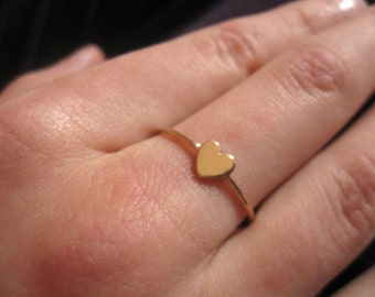 Tiny gold heart ring, 14k solid gold, personalized ring, customized jewelry