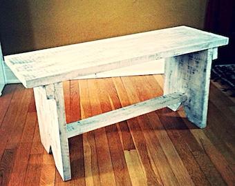 Distressed handmade bench