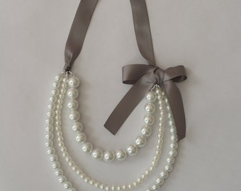 Pearl Necklace with Gray Ribbon
