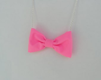Bright Pink Bow Tie Necklace
