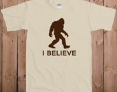 Bigfoot shirt Sasquatch shirt believe t shirt I believe bigfoot big foot movie ladies men women youth tshirt T-Shirt Tee shirt