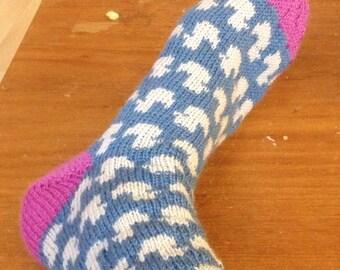 Woolen socks with ducks // Wollen sokken met eendjes