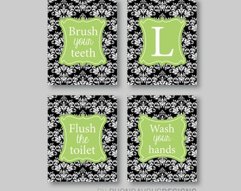 Bathroom art print bathroom decor bath art bath decor for Lime green bathroom ideas pictures